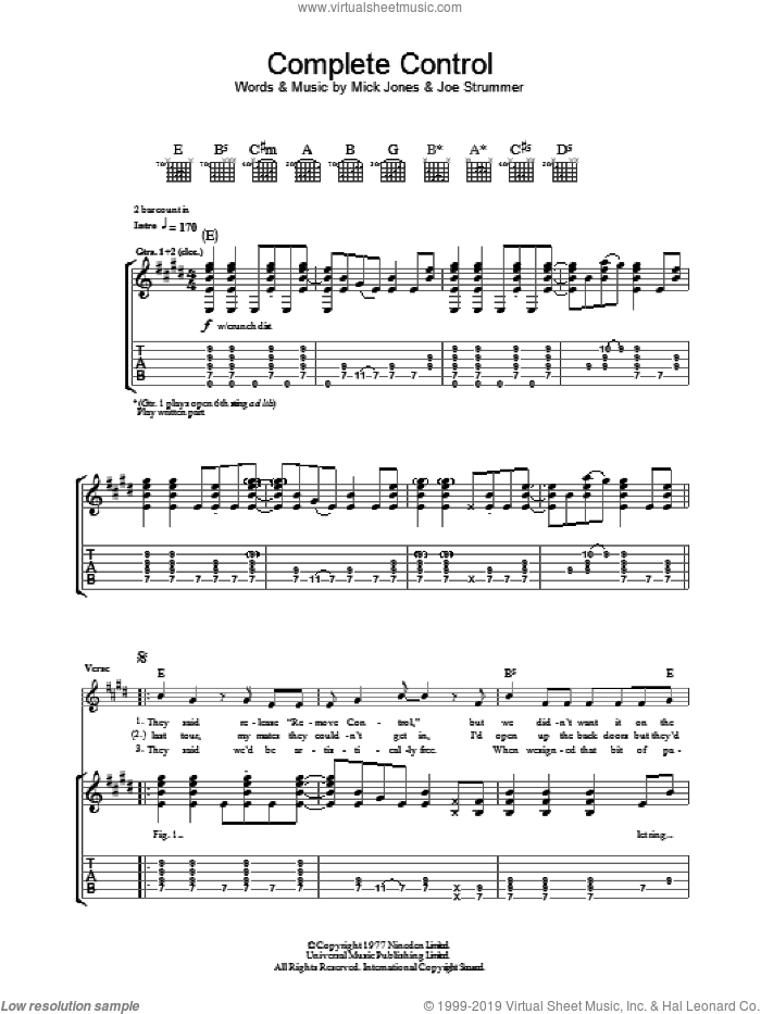 Complete Control sheet music for guitar (tablature) by The Clash, Joe Strummer and Mick Jones, intermediate skill level