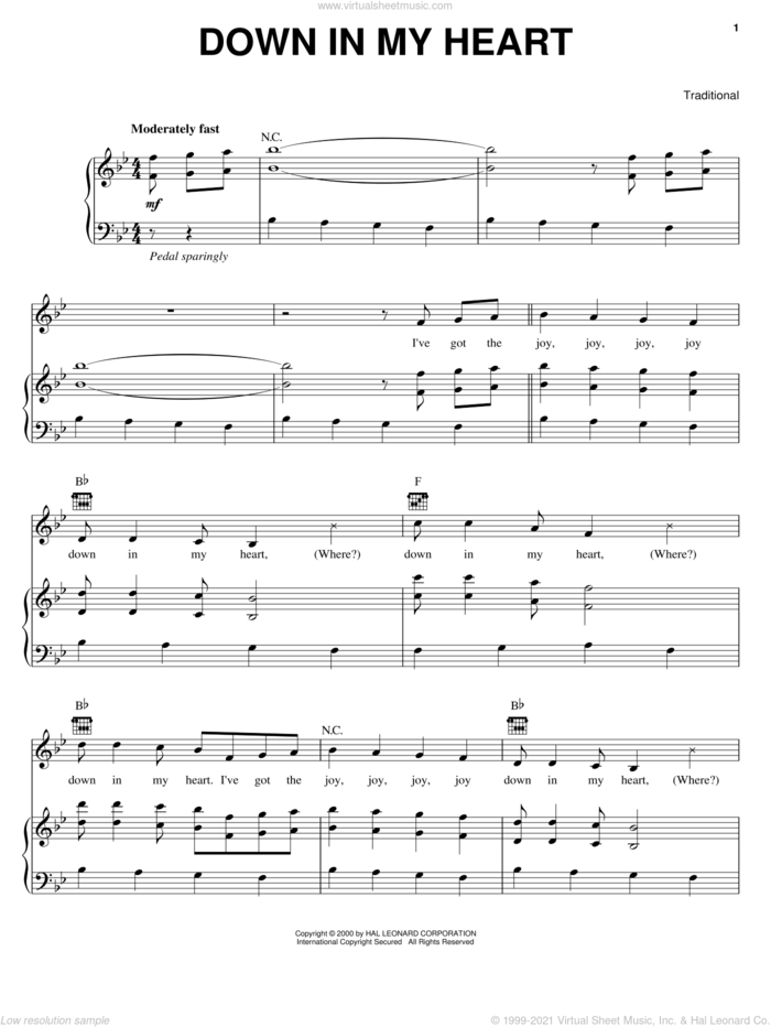 Down In My Heart sheet music for voice, piano or guitar, intermediate skill level