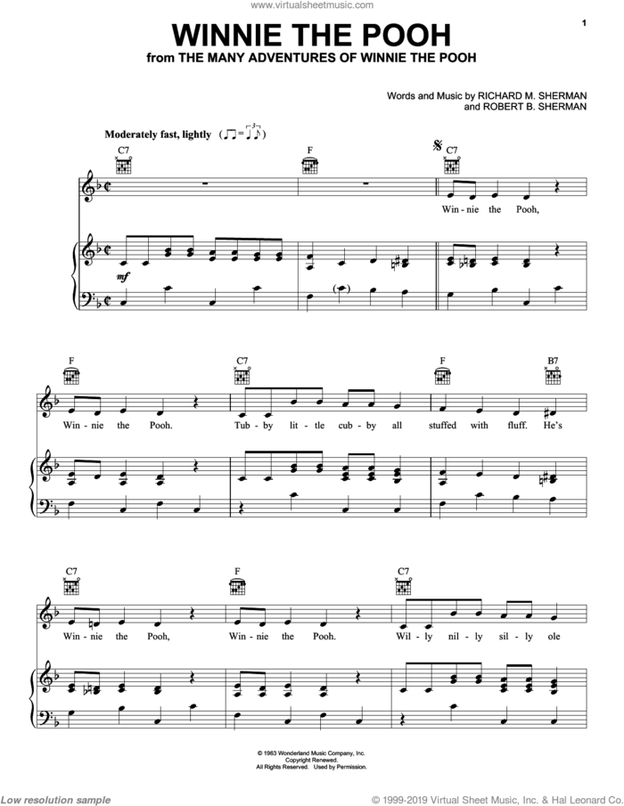 Winnie The Pooh sheet music for voice, piano or guitar by Sherman Brothers, Richard M. Sherman and Robert B. Sherman, intermediate skill level