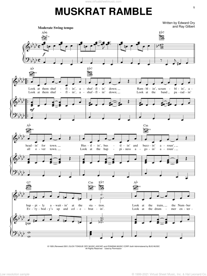Muskrat Ramble sheet music for voice, piano or guitar by Louis Armstrong, Edward 'Kid' Ory and Ray Gilbert, intermediate skill level