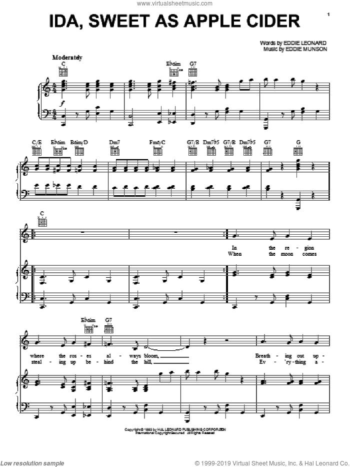 Ida, Sweet As Apple Cider sheet music for voice, piano or guitar by Eddie Cantor, Eddie Leonard and Eddie Munson, intermediate skill level