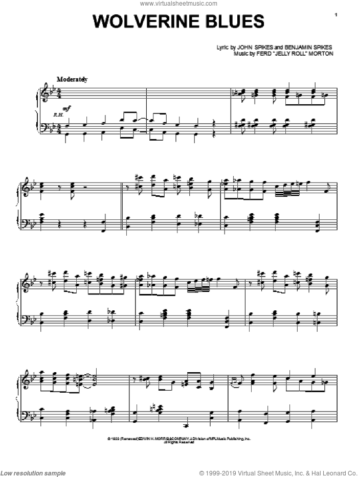 Wolverine Blues sheet music for voice, piano or guitar by Jelly Roll Morton, Benjamin Spikes and Spike Jones, intermediate skill level