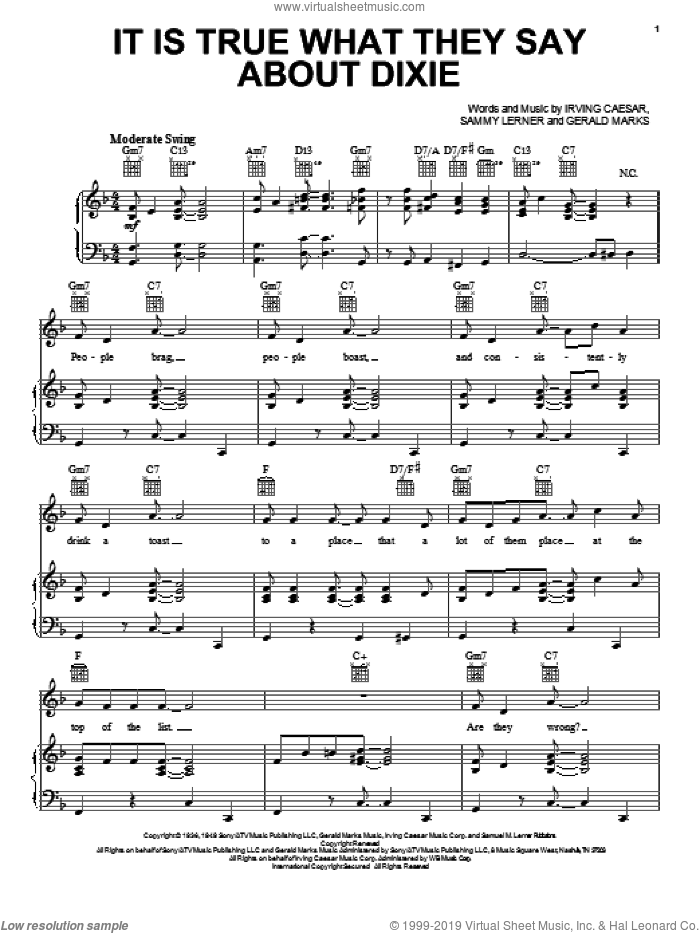 Is It True What They Say About Dixie sheet music for voice, piano or guitar by Gerald Marks, Irving Caesar and Sammy Lerner, intermediate skill level