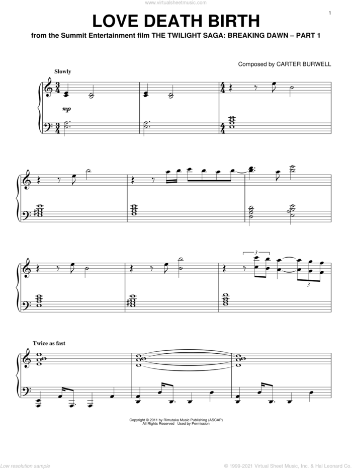 Love Death Birth sheet music for piano solo by Carter Burwell and Twilight: Breaking Dawn (Movie), intermediate skill level