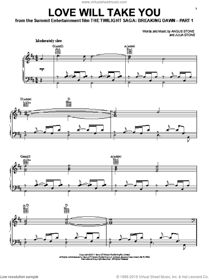 Love Will Take You sheet music for voice, piano or guitar by Julia Stone and Twilight: Breaking Dawn (Movie), intermediate skill level