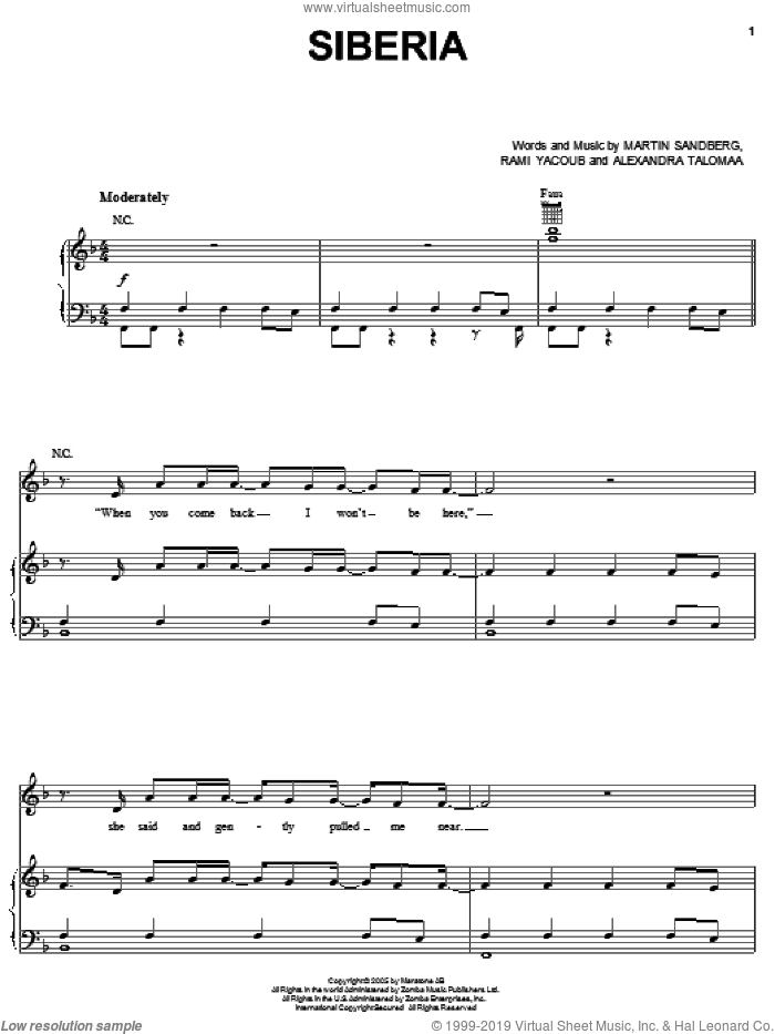 Siberia sheet music for voice, piano or guitar by Backstreet Boys, Alexandra Talomaa, Martin Sandberg and Rami, intermediate skill level
