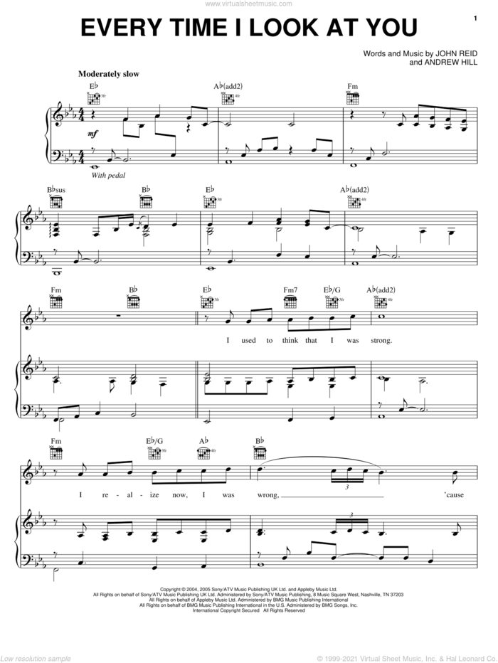 Every Time I Look At You sheet music for voice, piano or guitar by Il Divo, Andrew Hill and John Reid, intermediate skill level