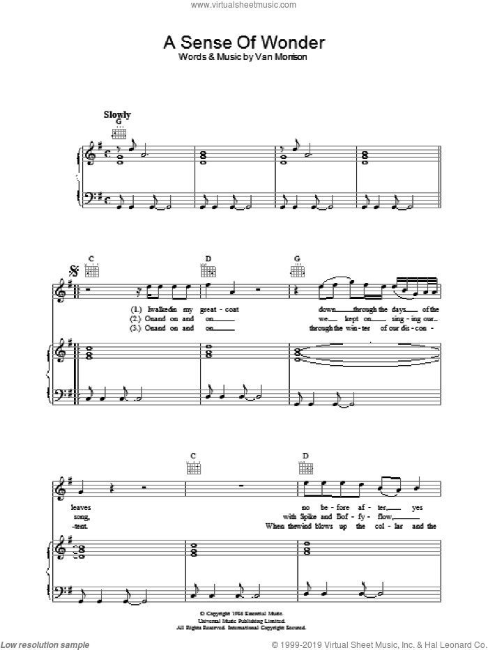 A Sense Of Wonder sheet music for voice, piano or guitar by Van Morrison, intermediate skill level