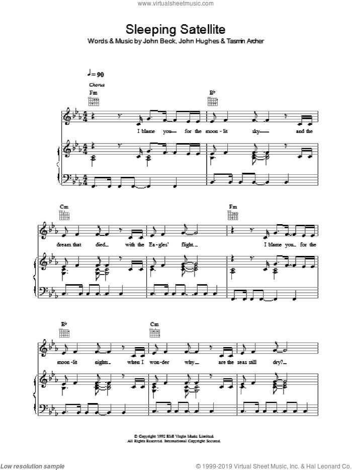 Sleeping Satellite sheet music for voice, piano or guitar by Tasmin Archer, John Beck and John Hughes, intermediate skill level