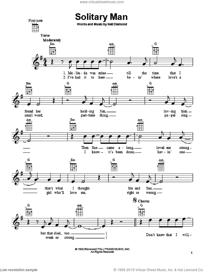 Solitary Man sheet music for ukulele by Neil Diamond, intermediate skill level