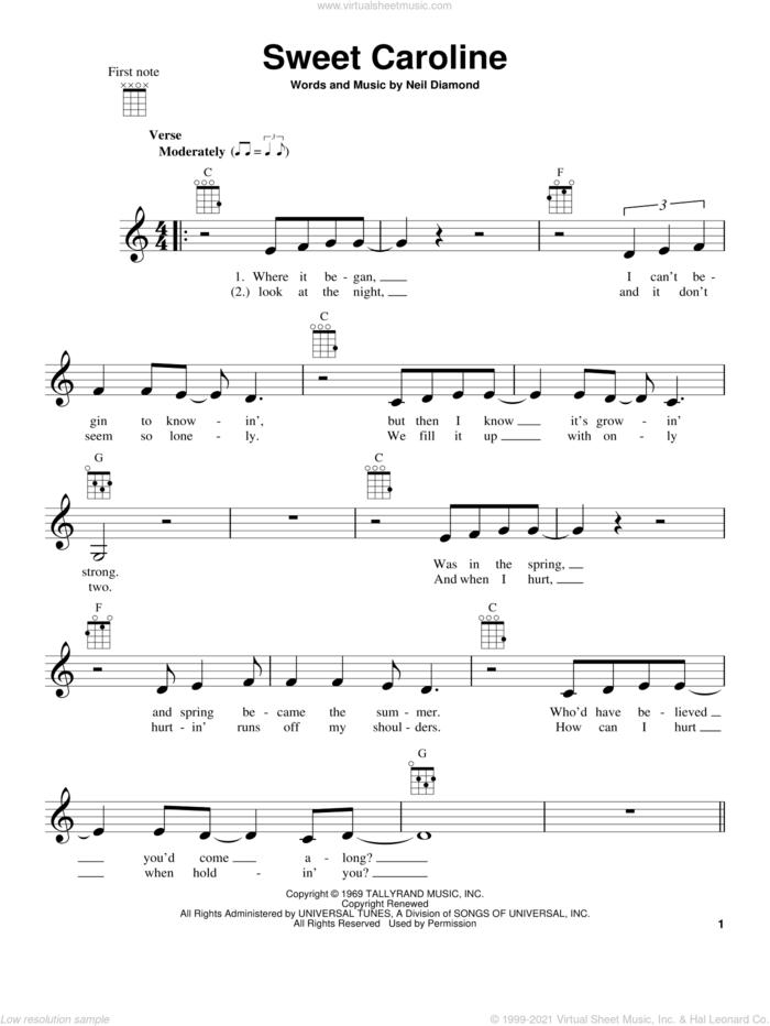 Sweet Caroline sheet music for ukulele by Neil Diamond, intermediate skill level