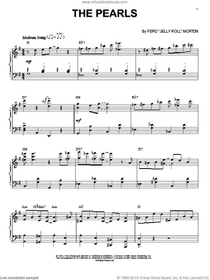The Pearls (arr. Brent Edstrom) sheet music for piano solo by Jelly Roll Morton, intermediate skill level