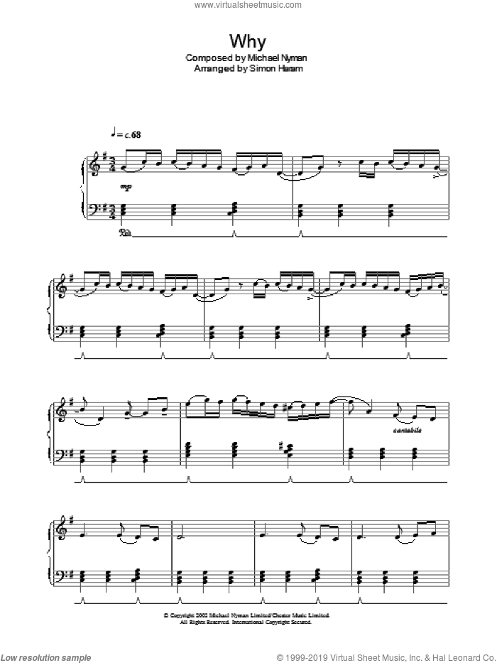 Why? sheet music for piano solo by Michael Nyman and Simon Haram, intermediate skill level