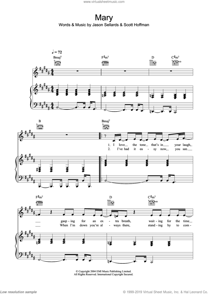 Mary sheet music for voice, piano or guitar by Scissor Sisters, Jason Sellards and Scott Hoffman, intermediate skill level