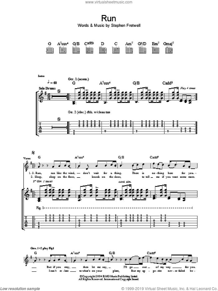 Run sheet music for guitar (tablature) by Stephen Fretwell, intermediate skill level
