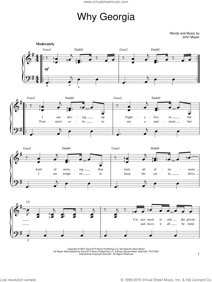 Why Georgia sheet music for piano solo by John Mayer, easy skill level