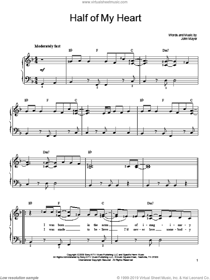 Half Of My Heart sheet music for piano solo by John Mayer and Taylor Swift, easy skill level