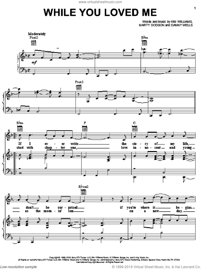 While You Loved Me sheet music for voice, piano or guitar by Rascal Flatts, Danny Wells, Kim Williams and Martin Dodson, intermediate skill level