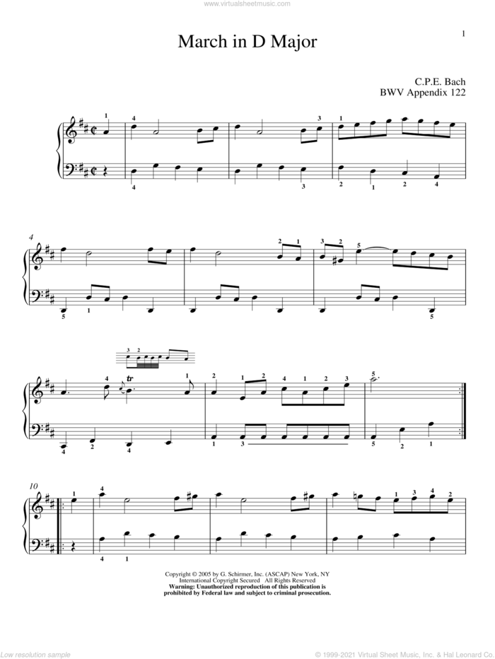 March In D Major sheet music for piano solo by Johann Sebastian Bach and Christos Tsitsaros, classical score, intermediate skill level