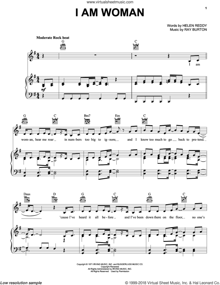 I Am Woman sheet music for voice, piano or guitar by Helen Reddy and Ray Burton, intermediate skill level