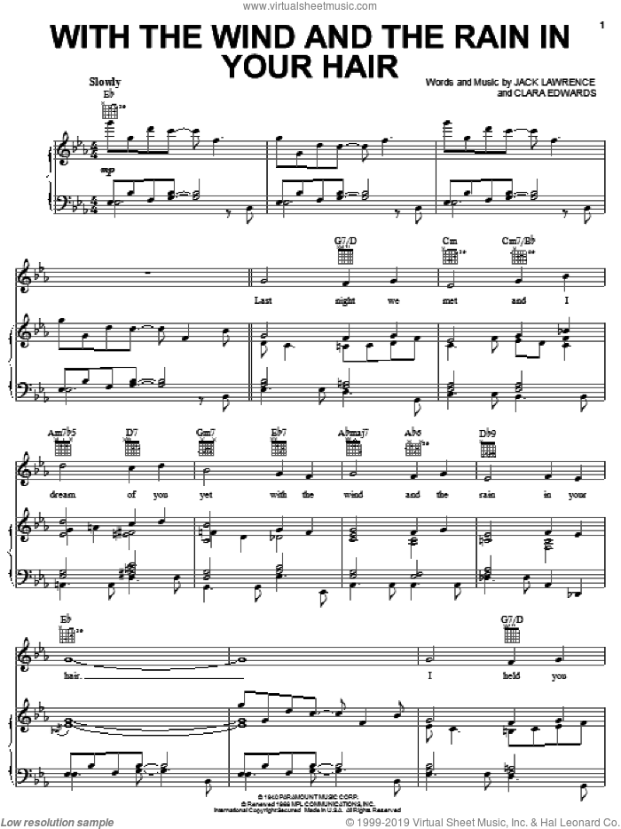 With The Wind And The Rain In Your Hair sheet music for voice, piano or guitar by Pat Boone, Tal Farlow, Clara Edwards and Jack Lawrence, intermediate skill level