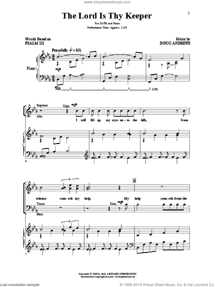 The Lord Is Thy Keeper sheet music for choir (SATB: soprano, alto, tenor, bass) by Doug Andrews and Miscellaneous, intermediate skill level