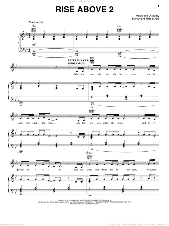 Rise Above 2 sheet music for voice, piano or guitar by Bono & The Edge and Spider Man: Turn Off The Dark (Musical), intermediate skill level