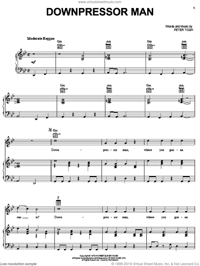 Downpressor Man sheet music for voice, piano or guitar by Peter Tosh, intermediate skill level
