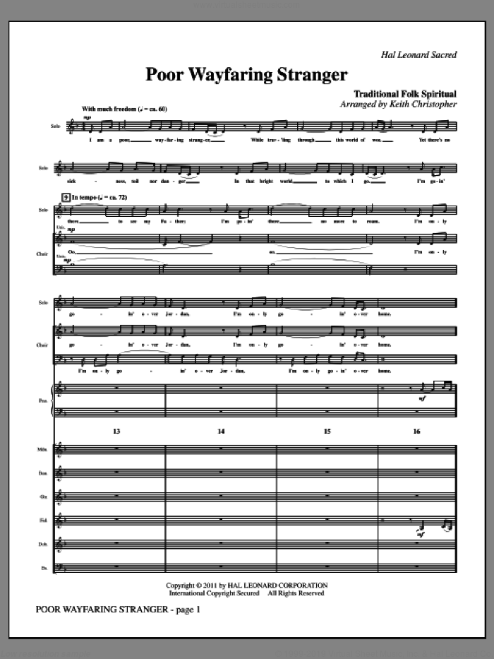 Poor Wayfaring Stranger (complete set of parts) sheet music for orchestra/band (Instrumental Parts) by Keith Christopher and Miscellaneous, intermediate skill level