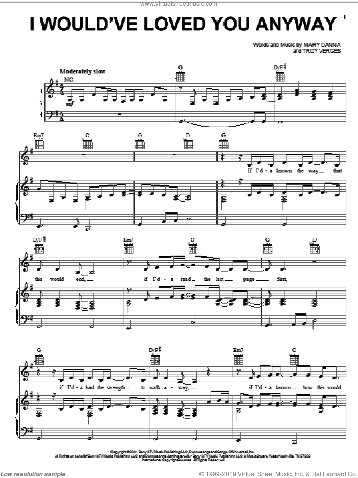 I Would've Loved You Anyway sheet music for voice, piano or guitar by Trisha Yearwood, Mary Danna and Troy Verges, intermediate skill level