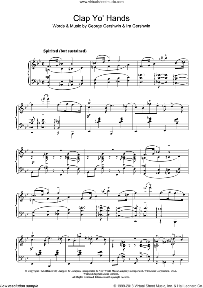 Clap Yo' Hands sheet music for piano solo by George Gershwin, GEORGE and Ira Gershwin, intermediate skill level