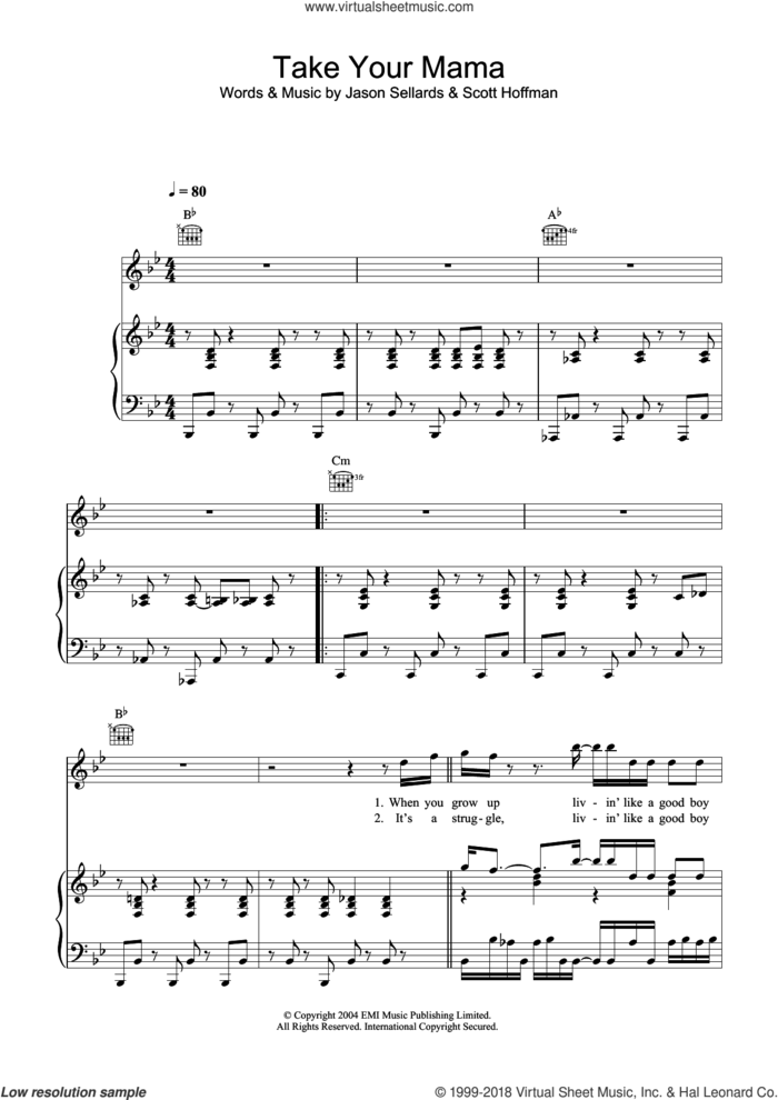 Take Your Mama sheet music for voice, piano or guitar by Scissor Sisters, Jason Sellards and Scott Hoffman, intermediate skill level