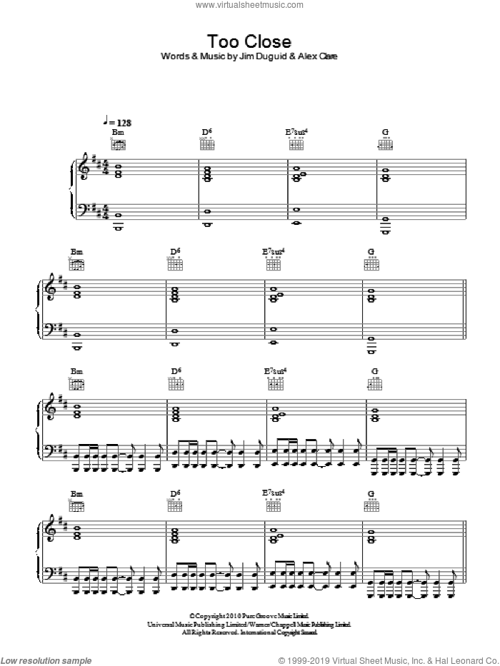 Too Close sheet music for voice, piano or guitar by Alex Clare and Jim Duguid, intermediate skill level