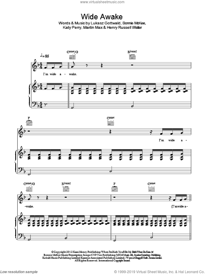 Wide Awake sheet music for voice, piano or guitar by Katy Perry, Bonnie McKee, Henry Russell Walter, Lukasz Gottwald and Martin Max, intermediate skill level