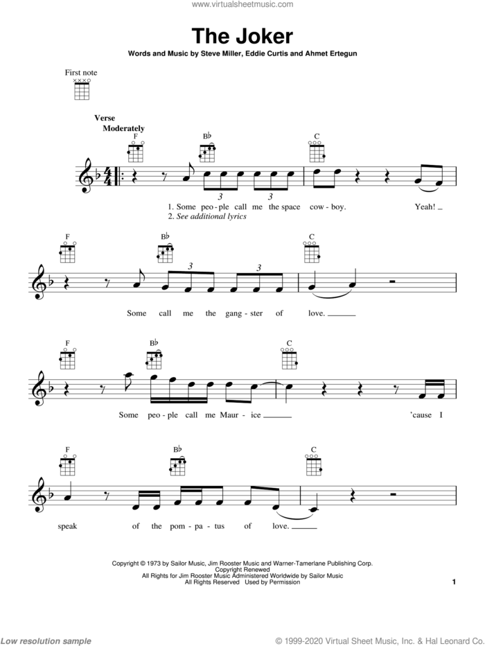The Joker sheet music for ukulele by Steve Miller Band and Steve Miller, intermediate skill level