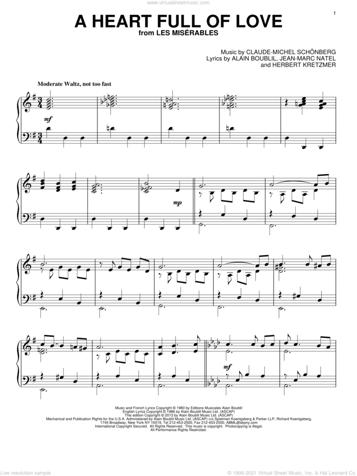 A Heart Full Of Love sheet music for piano solo by Les Miserables (Musical), Alain Boublil and Claude-Michel Schonberg, intermediate skill level