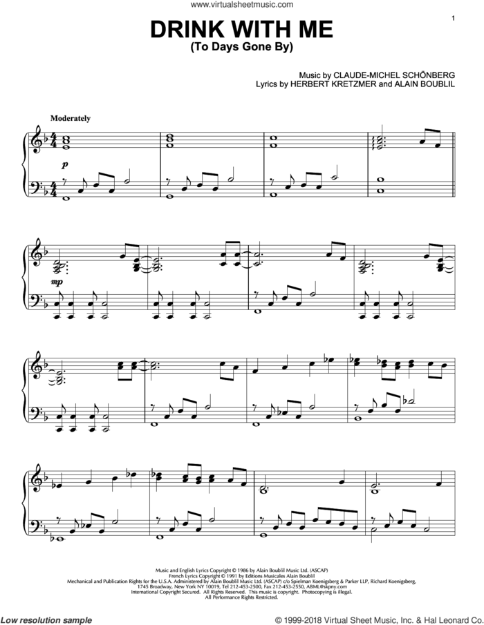 Drink With Me (To Days Gone By) sheet music for piano solo by Les Miserables (Musical), Alain Boublil and Claude-Michel Schonberg, intermediate skill level