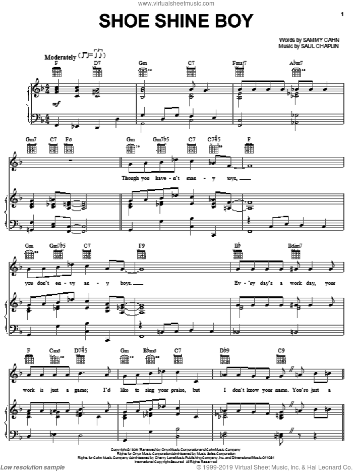 Shoe Shine Boy sheet music for voice, piano or guitar by Louis Armstrong, Duke Ellington, Lester Young, Sammy Cahn and Saul Chaplin, intermediate skill level