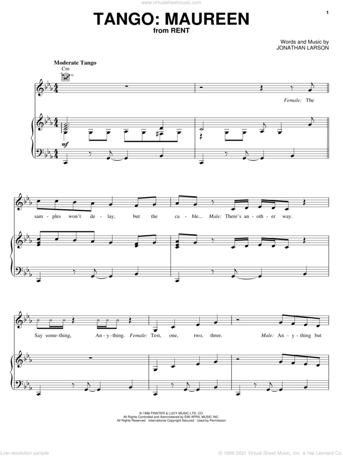Tango: Maureen sheet music for voice, piano or guitar by Jonathan Larson and Rent (Musical), intermediate skill level