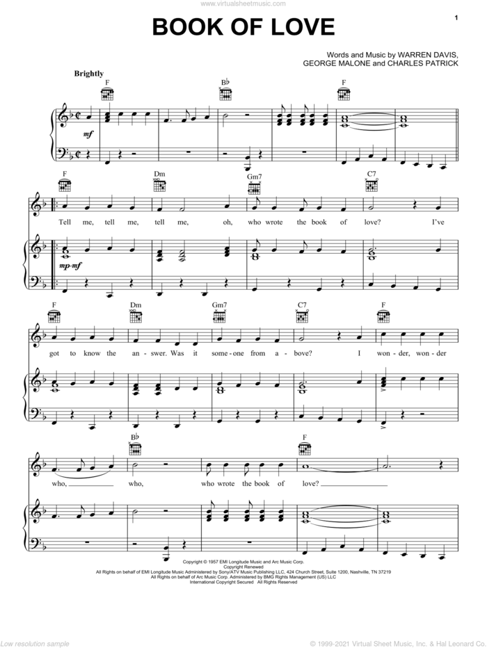 Book Of Love sheet music for voice, piano or guitar by The Monotones, Charles Patrick, George Malone and Warren Davis, intermediate skill level