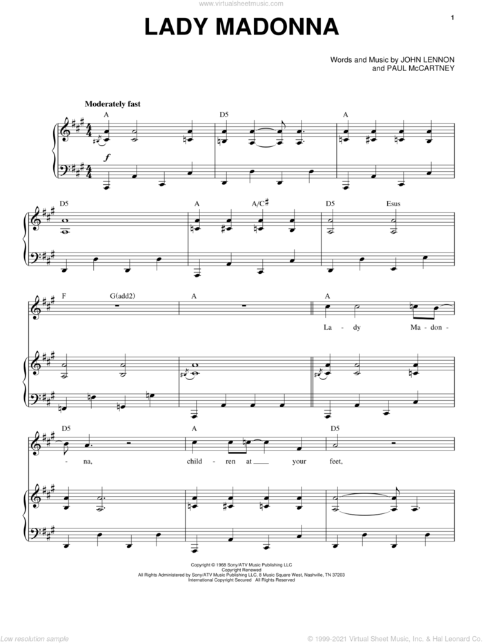 Lady Madonna sheet music for voice and piano by The Beatles, John Lennon and Paul McCartney, intermediate skill level