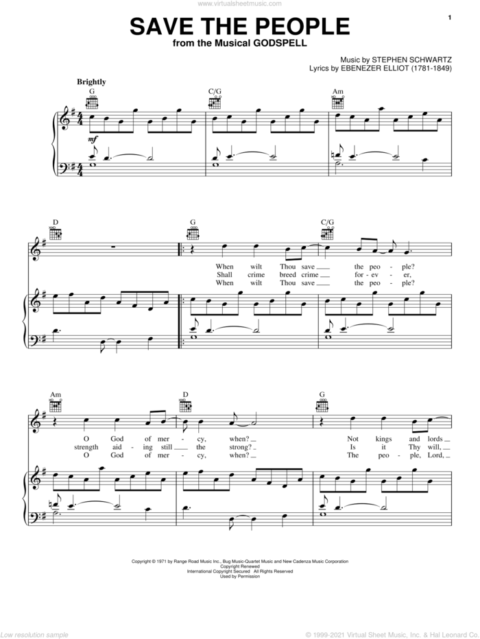 Save The People sheet music for voice, piano or guitar by Stephen Schwartz and Godspell (Musical), intermediate skill level