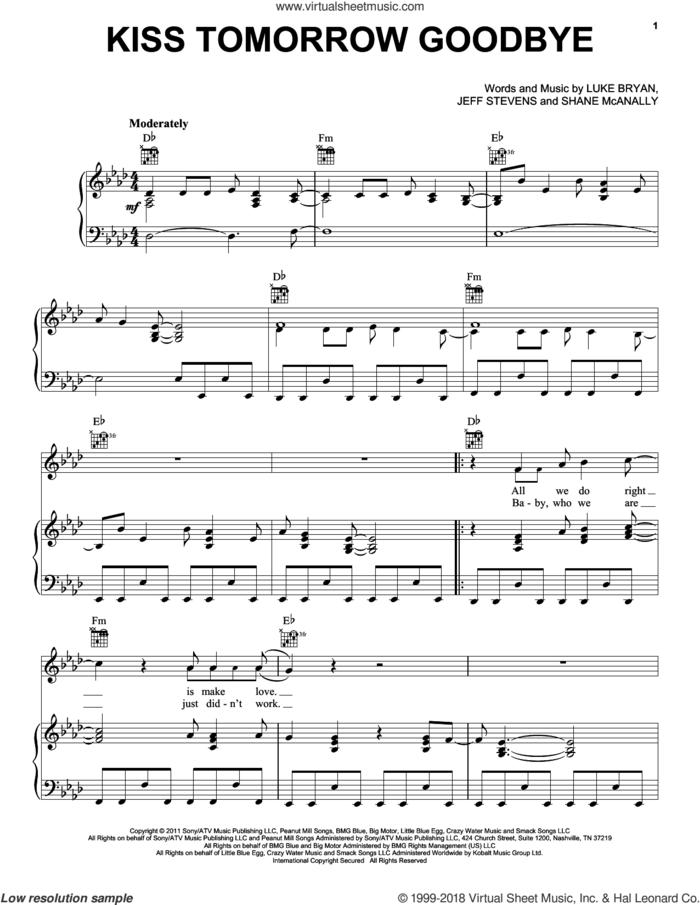 Kiss Tomorrow Goodbye sheet music for voice, piano or guitar by Luke Bryan, Jeff Stevens and Shane McAnally, intermediate skill level