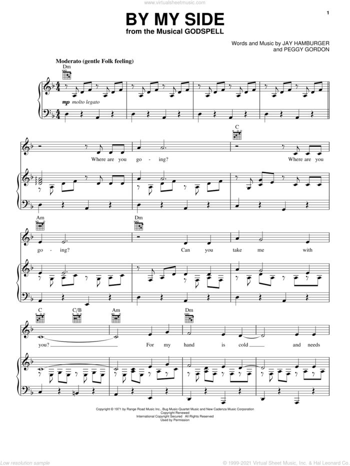 By My Side sheet music for voice, piano or guitar by Stephen Schwartz, Godspell (Musical), Jay Hamburger and Peggy Gordon, intermediate skill level