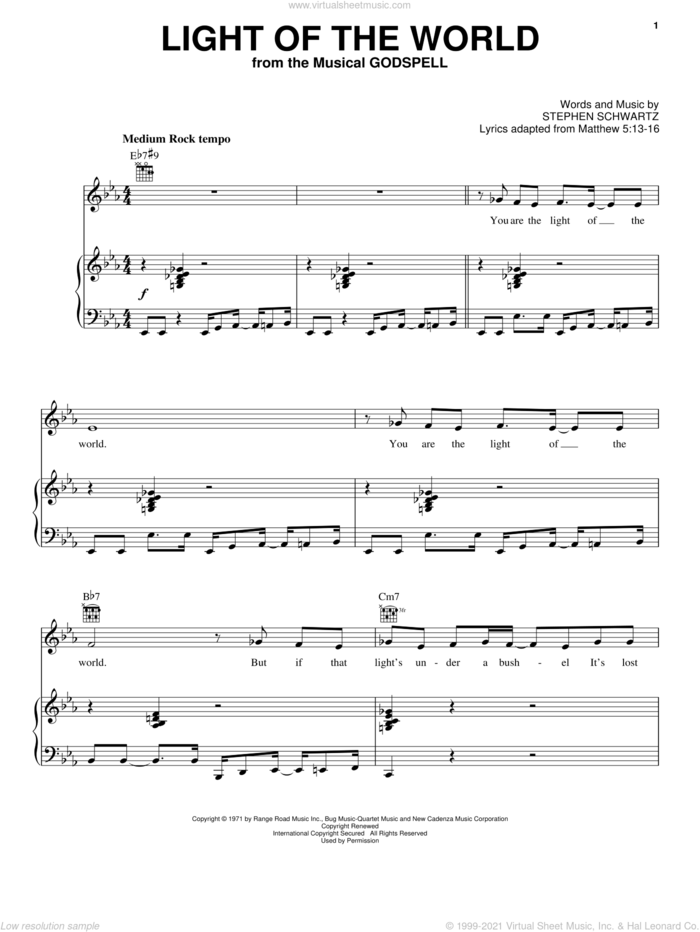 Light Of The World sheet music for voice, piano or guitar by Stephen Schwartz and Godspell (Musical), intermediate skill level