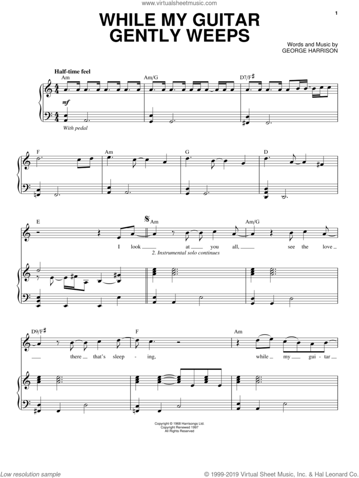 While My Guitar Gently Weeps sheet music for voice and piano by The Beatles, George Harrison, John Lennon and Paul McCartney, intermediate skill level