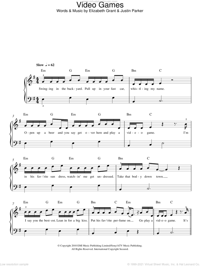 Video Games sheet music for piano solo by Lana Del Rey, Elizabeth Grant and Justin Parker, easy skill level