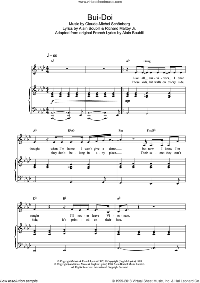 Bui-Doi (from Miss Saigon) sheet music for voice, piano or guitar by Claude-Michel Schonberg, Miss Saigon (Musical), Alain Boublil and Richard Maltby, Jr., intermediate skill level
