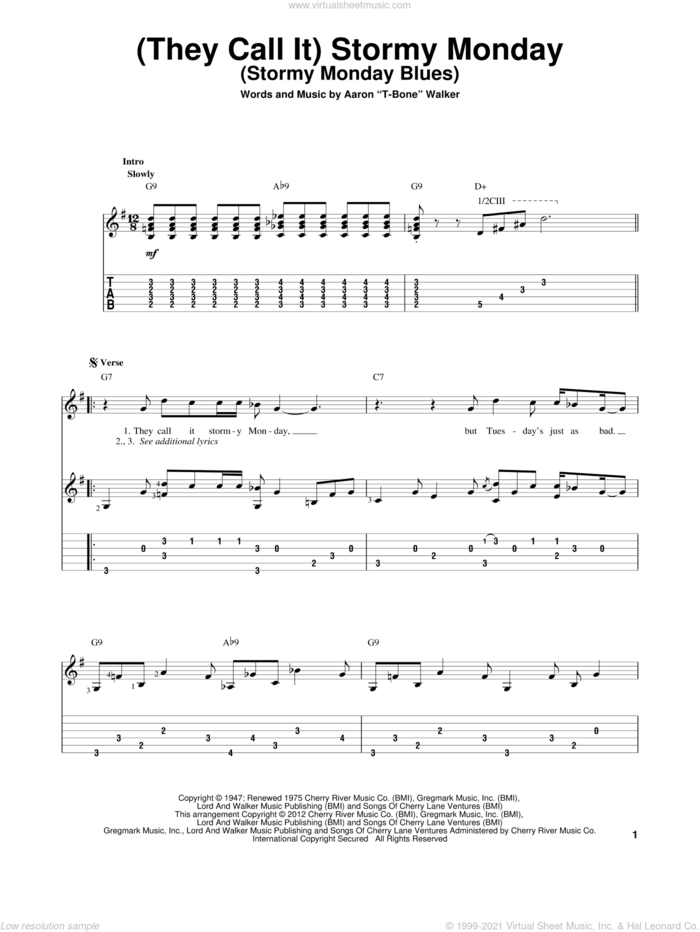 (They Call It) Stormy Monday (Stormy Monday Blues) sheet music for guitar solo by Aaron 'T-Bone' Walker, intermediate skill level
