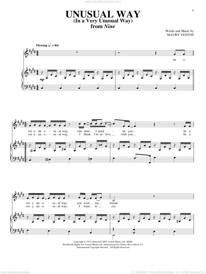 Unusual Way sheet music for voice and piano by Maury Yeston and Nine (Musical), intermediate skill level
